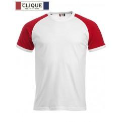 Clique® T-Shirt Raglan-T Blanc et Rouge 29326