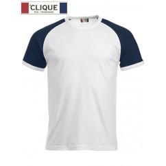 Clique® T-Shirt Raglan-T Blanc et Bleu Marine 29326