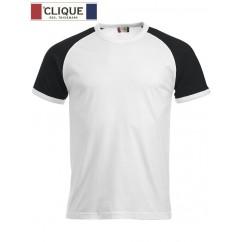Clique® T-Shirt Raglan-T Blanc et Noir 29326