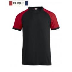 Clique® T-Shirt Raglan-T Noir et Rouge 29326