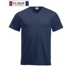 Clique® T-Shirt Fashion-T V-Neck Bleu Marine 29331