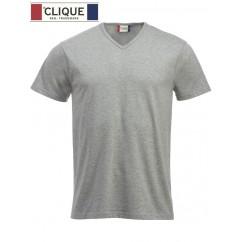 Clique® T-Shirt Fashion-T V-Neck Gris Chiné 29331